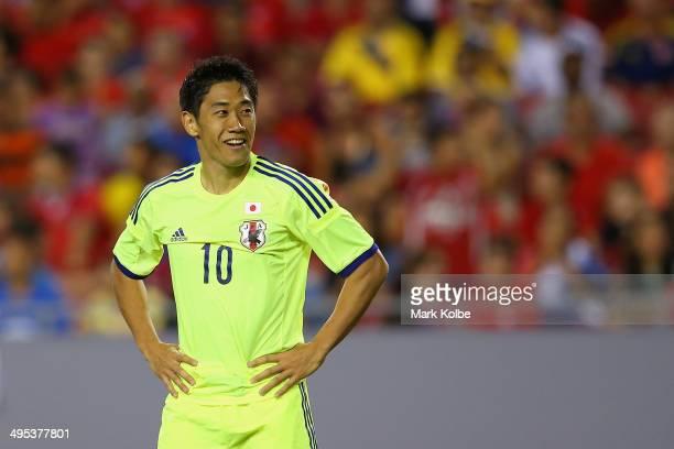 Shinji Kagawa of Japan smiles during the International Friendly Match between Japan and Costa Rica at Raymond James Stadium on June 2 2014 in Tampa...