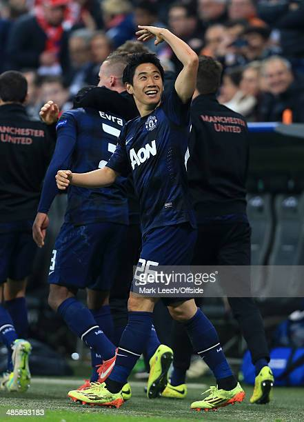 Shinji Kagawa of Man Utd celebrates their opening goal during the UEFA Champions League Quarter Final second leg match between FC Bayern Muenchen and...