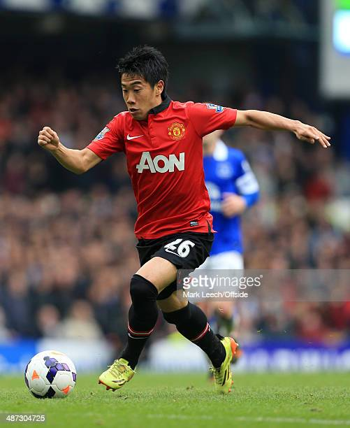 Shinji Kagawa of Man Utd in action during the Barclays Premier League match between Everton and Manchester United at Goodison Park on April 20 2014...