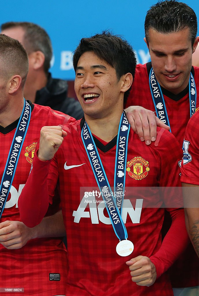 Shinji Kagawa of Manchester United celebrates following the Barclays Premier League match between Manchester United and Swansea City at Old Trafford on May 12, 2013 in Manchester, England.