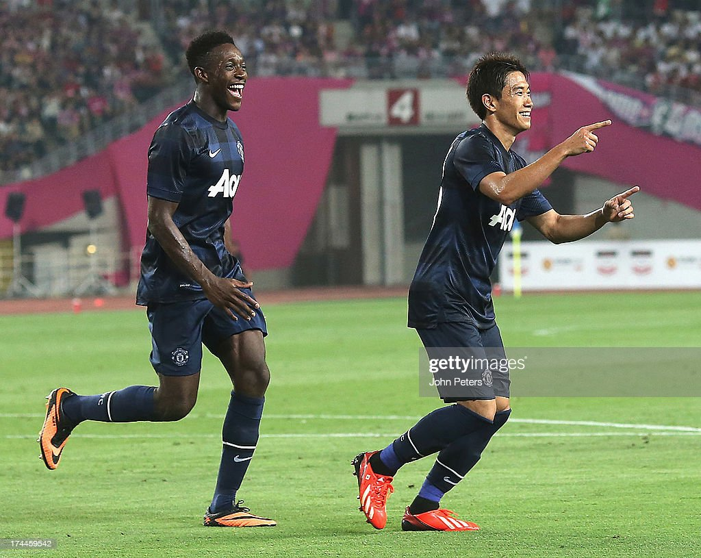 Shinji Kagawa of Manchester United celebrates scoring their first goal during the preseason friendly match between Cerezo Osaka and Manchester United...