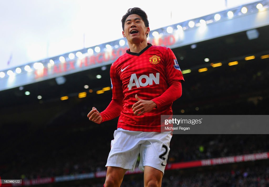 <a gi-track='captionPersonalityLinkClicked' href=/galleries/search?phrase=Shinji+Kagawa&family=editorial&specificpeople=4314029 ng-click='$event.stopPropagation()'>Shinji Kagawa</a> of Manchester United celebrates scoring to make it 3-0 and claim a hat-trick during the Barclays Premier League match between Manchester United and Norwich City at Old Trafford on March 2, 2013 in Manchester, England.
