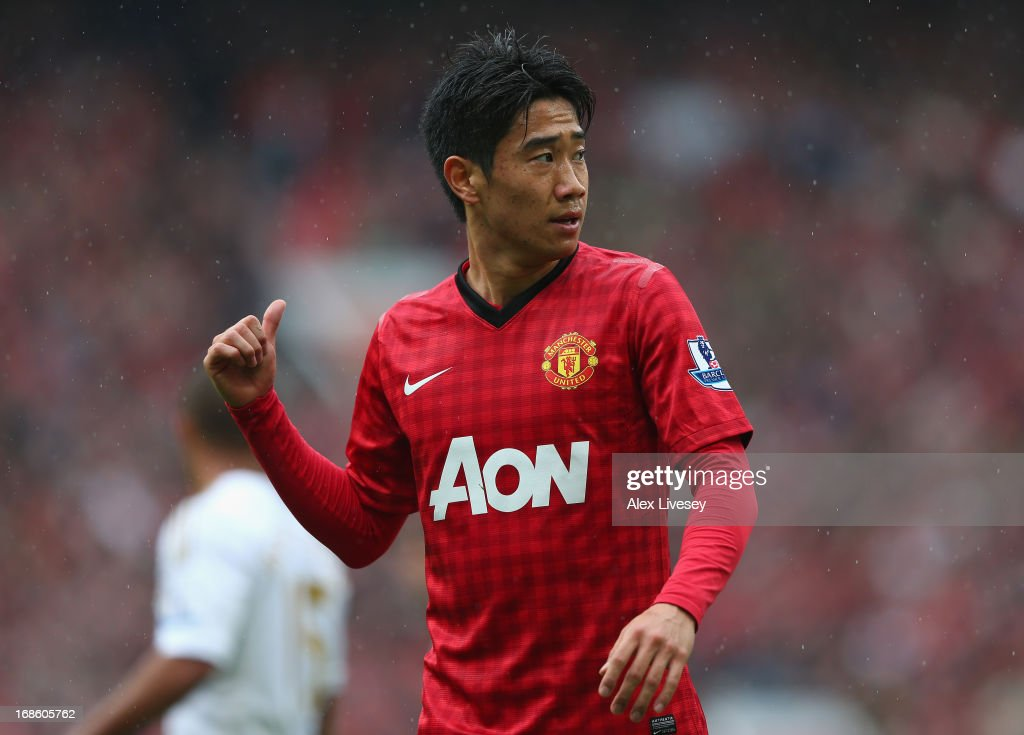 Shinji Kagawa of Manchester United gestures during the Barclays Premier League match between Manchester United and Swansea City at Old Trafford on May 12, 2013 in Manchester, England.