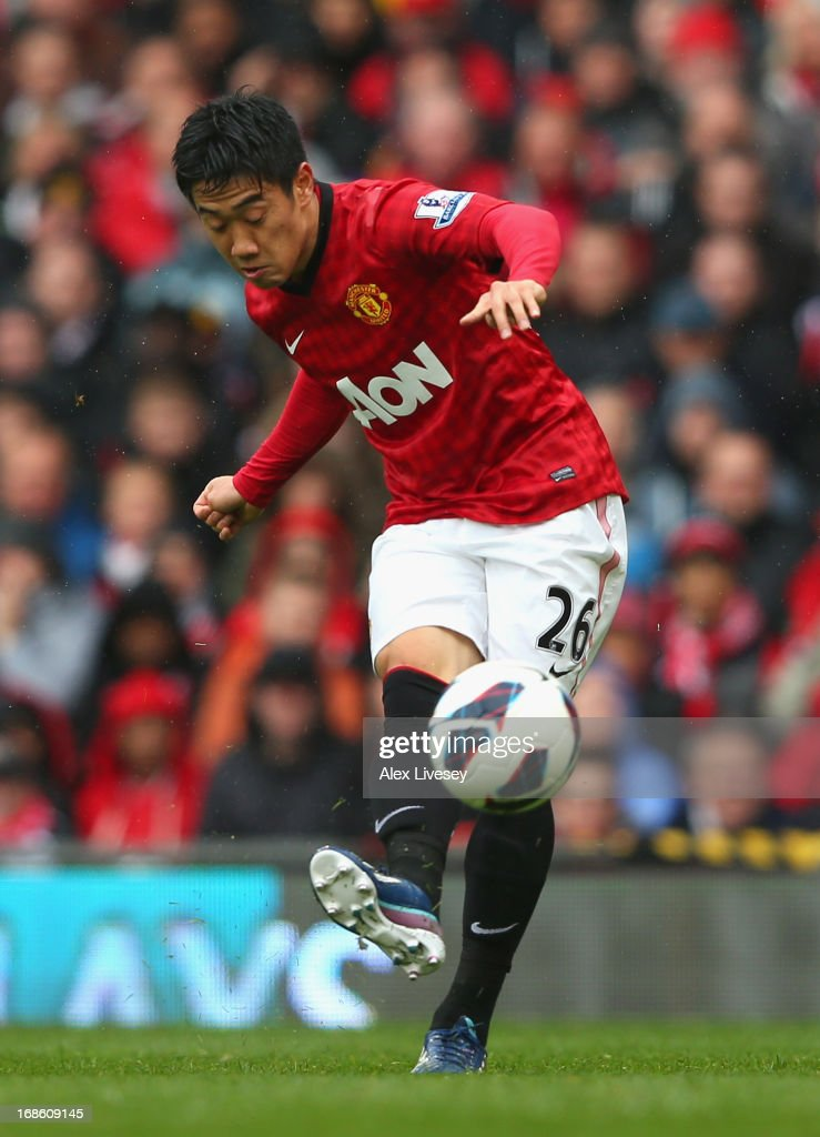 Shinji Kagawa of Manchester United in action during the Barclays Premier League match between Manchester United and Swansea City at Old Trafford on May 12, 2013 in Manchester, England.