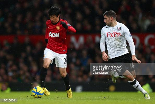 Shinji Kagawa of Manchester United in action during the FA Cup with Budweiser Fourth Round match between Manchester United and Fulham at Old Trafford...
