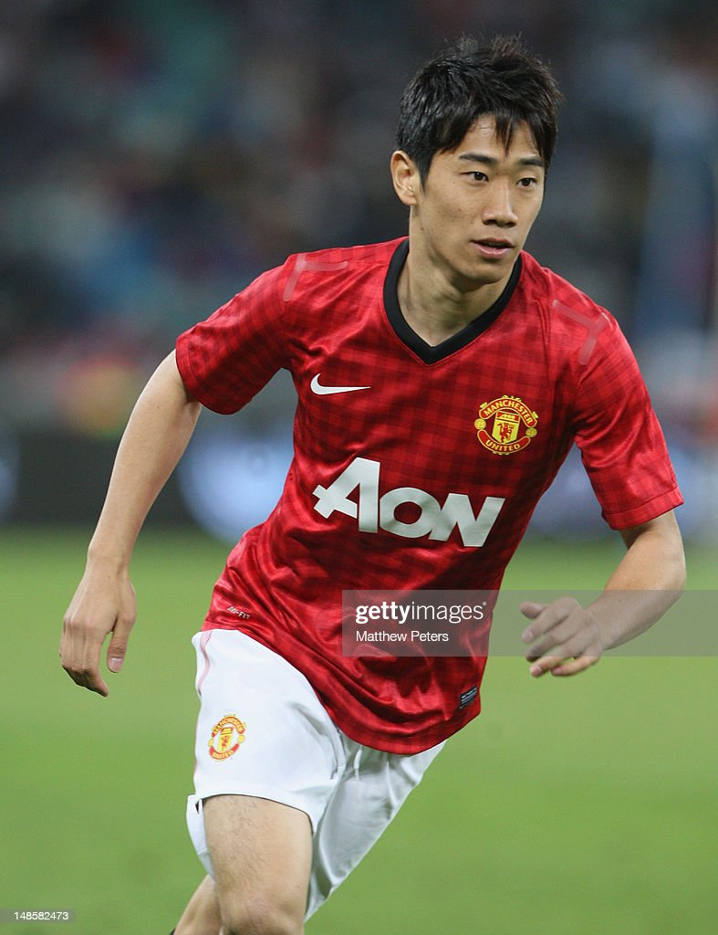 <a gi-track='captionPersonalityLinkClicked' href=/galleries/search?phrase=Shinji+Kagawa&family=editorial&specificpeople=4314029 ng-click='$event.stopPropagation()'>Shinji Kagawa</a> of Manchester United in action during the pre-season friendly between AmaZulu FC and Manchester United at Moses Mabhida Stadium on July 18, 2012 in Durban, South Africa.