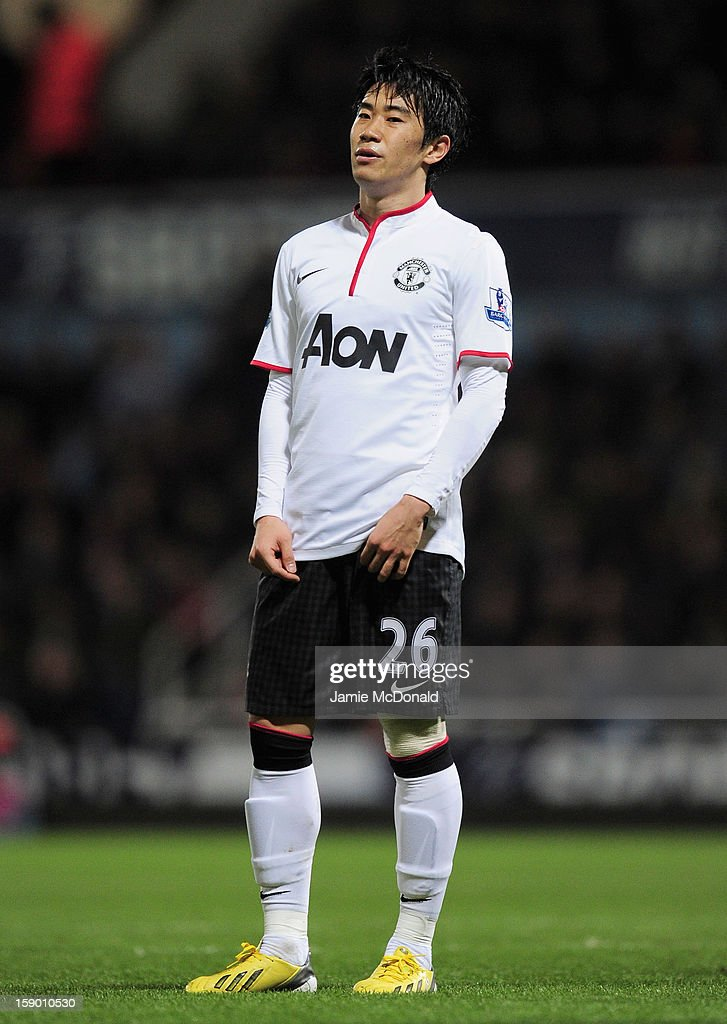 Shinji Kagawa of Manchester United looks on during the FA Cup with Budweiser Third Round match between West Ham United and Manchester United at the Boleyn Ground on January 5, 2013 in London, England.