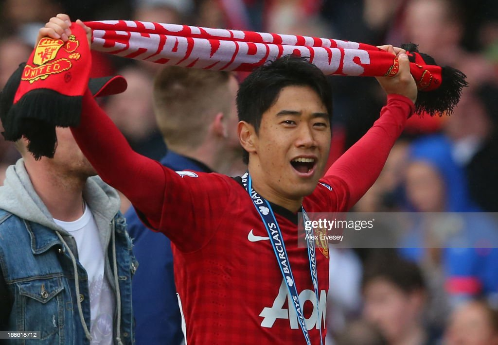 Shinji Kagawa of Manchester United of Manchester United celebrates following the Barclays Premier League match between Manchester United and Swansea City at Old Trafford on May 12, 2013 in Manchester, England.