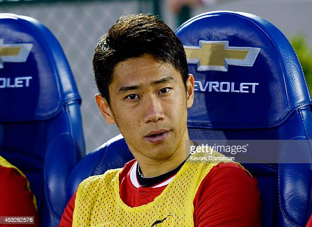 Shinji Kagawa of Manchester United on the bench during the preseason friendly match between Los Angeles Galaxy and Manchester United at the Rose Bowl...