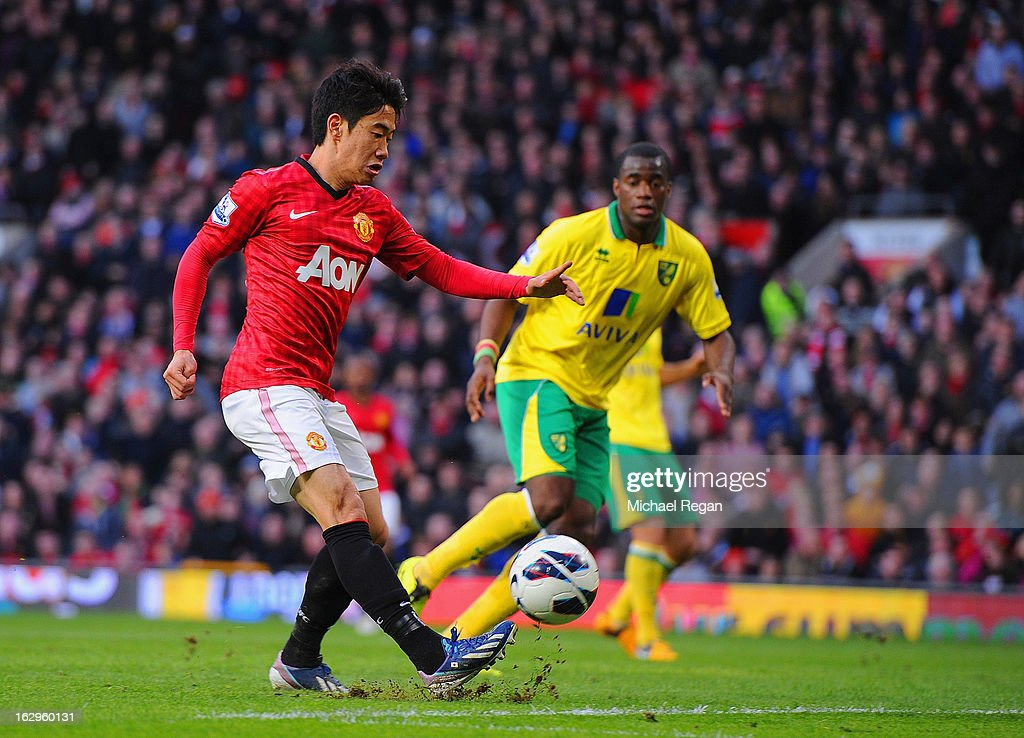 <a gi-track='captionPersonalityLinkClicked' href=/galleries/search?phrase=Shinji+Kagawa&family=editorial&specificpeople=4314029 ng-click='$event.stopPropagation()'>Shinji Kagawa</a> of Manchester United scores to make it 3-0 and claim a hat-trick during the Barclays Premier League match between Manchester United and Norwich City at Old Trafford on March 2, 2013 in Manchester, England.
