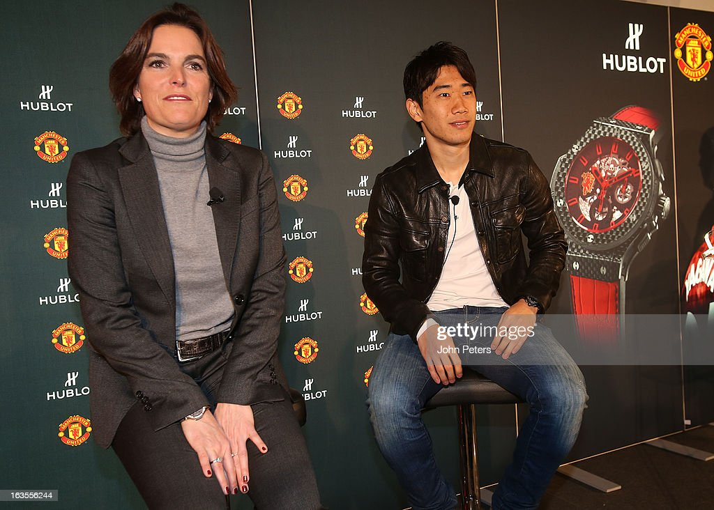 Shinji Kagawa of Manchester United takes part in a press conference before taking part in a charity shooting event at Old Trafford on March 12, 2013 in Manchester, England.