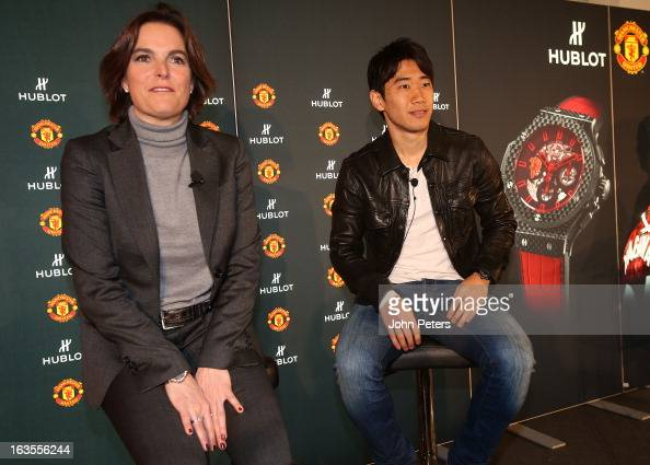 Shinji Kagawa of Manchester United takes part in a press conference before taking part in a charity shooting event at Old Trafford on March 12 2013...