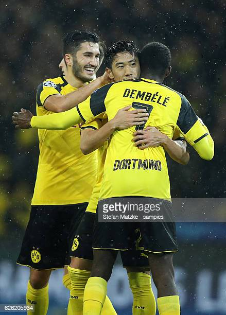 Shinji Kagawa Ousmane Dembele Borussia Dortmund Nuri Sahin celebrates as he scores the goal during the UEFA Champions League match between Borussia...