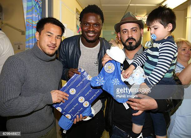 Shinji Okazaki and Daniel Amartey during the Leicester City Players Deliver Christmas Presents to Patients at Leicester Royal Infirmary on December...