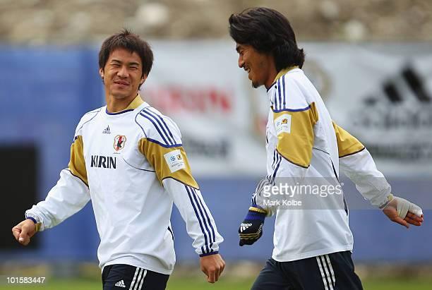03 Shinji Okazaki and Yuji Nakazawa share a laugh during a Japan training session at SaasFee Stadium on June 3 2010 in SaasFee Switzerland