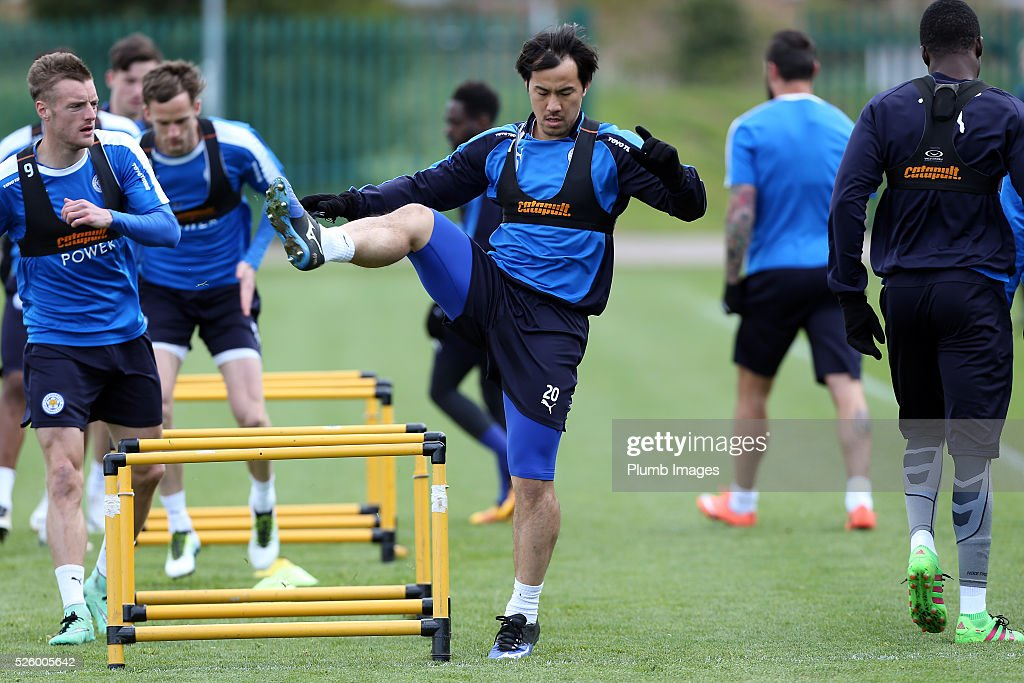 Shinji Okazaki during the Leicester City training session at Belvoir Drive Training Complex on April 29, 2016 in Leicester, United Kingdom.