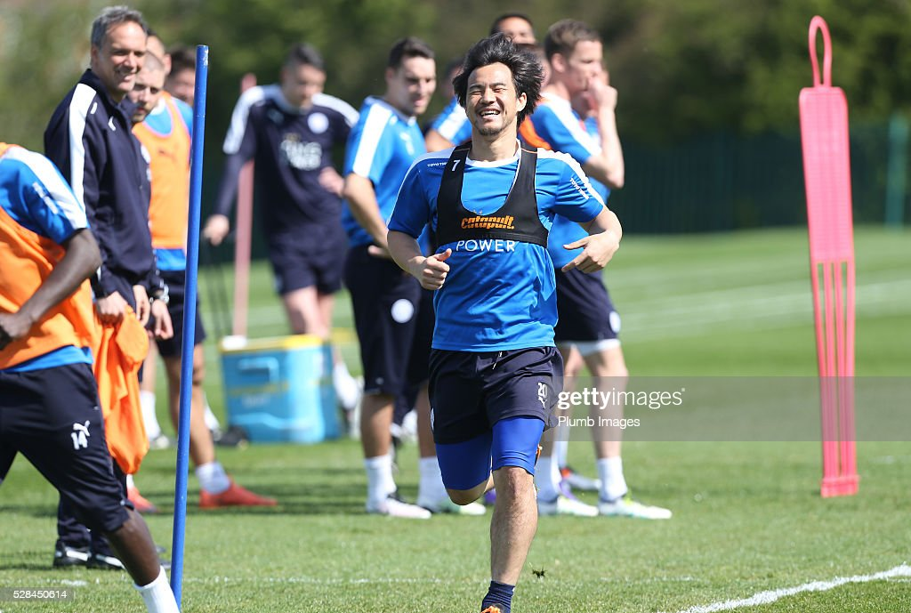 Shinji Okazaki during the Leicester City training session at Belvoir Drive Training Complex on May 05, 2016 in Leicester, United Kingdom.