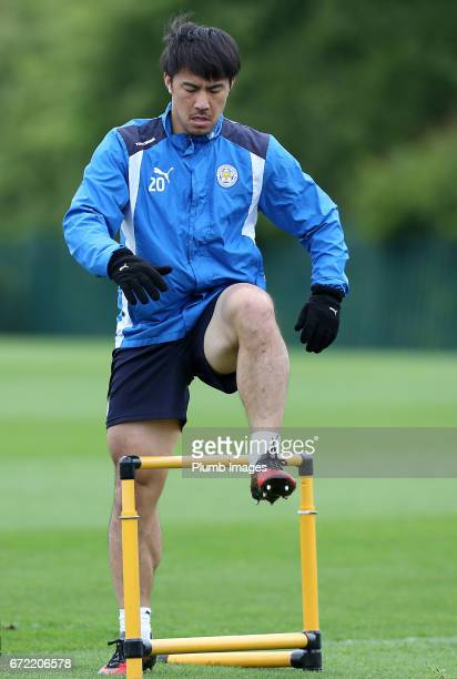 Shinji Okazaki during the Leicester City training session at Belvoir Drive Training Complex on April 24 2017 in Leicester United Kingdom