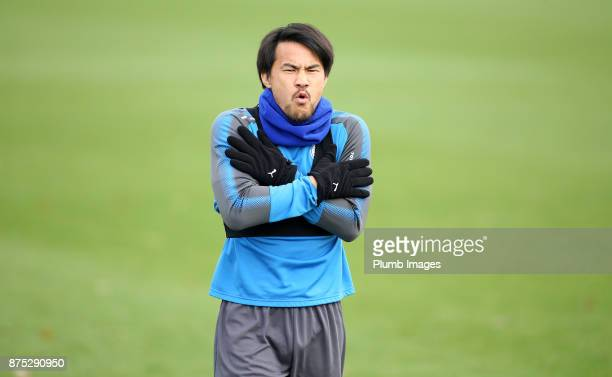 Shinji Okazaki during the Leicester City training session at Belvoir Drive Training Complex on November 17 2017 in Leicester United Kingdom