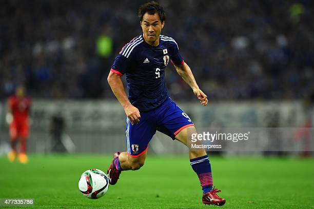 Shinji Okazaki of Japan in action during the 2018 FIFA World Cup Asian Qualifier second round match between Japan and Singapore at Saitama Stadium on...