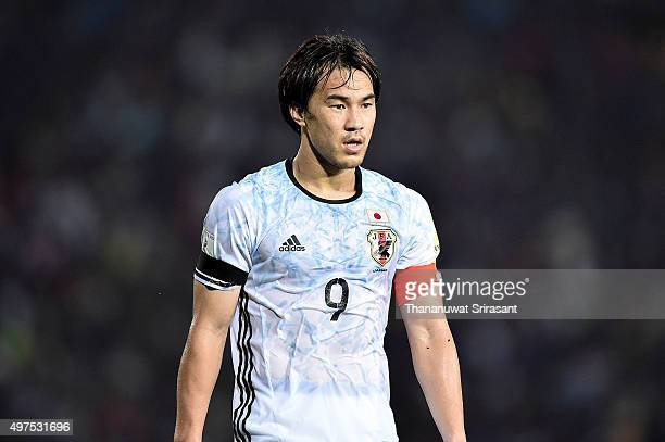 Shinji Okazaki of Japan looks on during the 2018 FIFA World Cup Qualifier match between Cambodia and Japan on November 17 2015 in Phnom Penh Cambodia