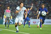 Shinji Okazaki of Japan runs during the 2018 FIFA World Cup Qualifier match between Cambodia and Japan on November 17 2015 in Phnom Penh Cambodia