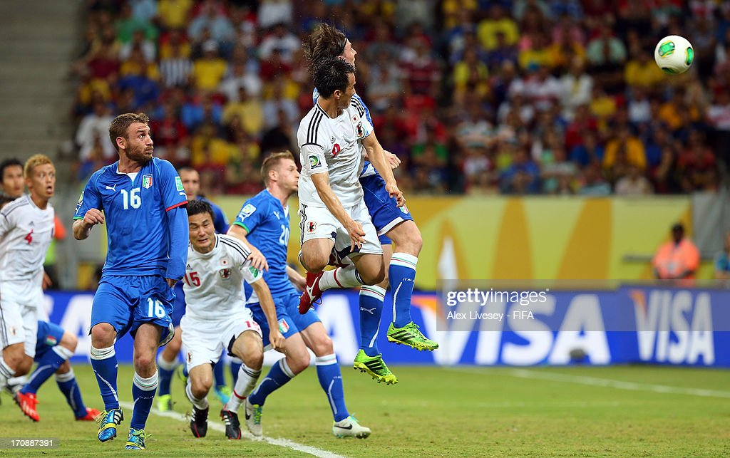 Shinji Okazaki of Japan scores his team's third goal to make the score 3-3 during the FIFA Confederations Cup Brazil 2013 Group A match between Italy and Japan at Arena Pernambuco on June 19, 2013 in Recife, Brazil.
