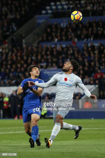 Shinji Okazaki of Leicester City and Ashley Williams of Everton during the Premier League match between Leicester City and Everton at The King Power...
