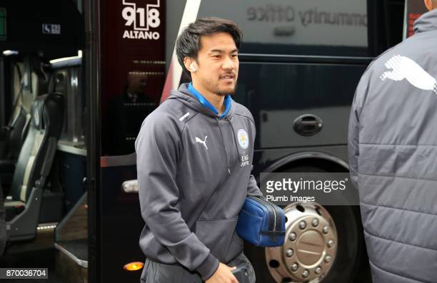 Shinji Okazaki of Leicester City arrives at Bet365 Stadium ahead of the Premier League match between Stoke City and Leicester City at Bet365 Stadium...