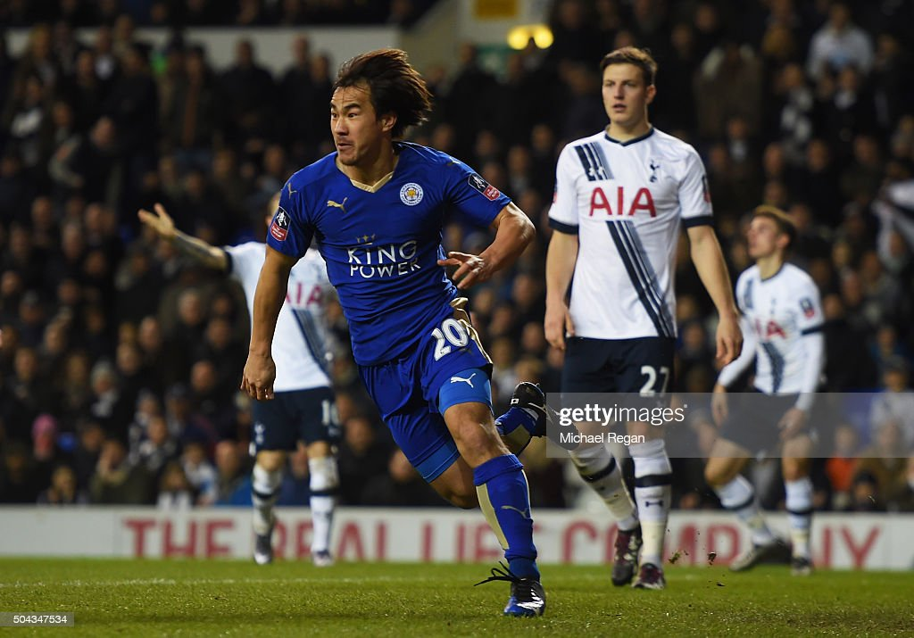 Shinji Okazaki (C) of Leicester City celebrates after scoring his team's second goal during The Emirates FA Cup third round match between Tottenham Hotspur and Leicester City at White Hart Lane on January 10, 2016 in London, England.