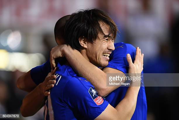 Shinji Okazaki of Leicester City celebrates after scoring his team's second goal during The Emirates FA Cup third round match between Tottenham...