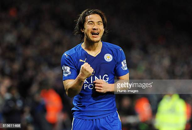 Shinji Okazaki of Leicester City celebrates after scoring to make it 10 during the Barclays Premier League match between Leicester City and Newcastle...