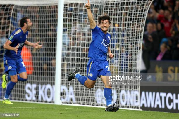 Shinji Okazaki of Leicester City celebrates after scoring to make it 10 during the Carabao Cup third round match between Leicester City and Liverpool...