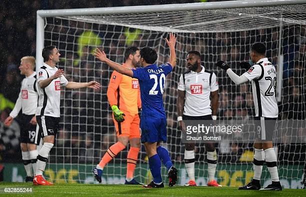 Shinji Okazaki of Leicester City celebrates as Darren Bent of Derby County scores an own goal during The Emirates FA Cup Fourth Round match between...