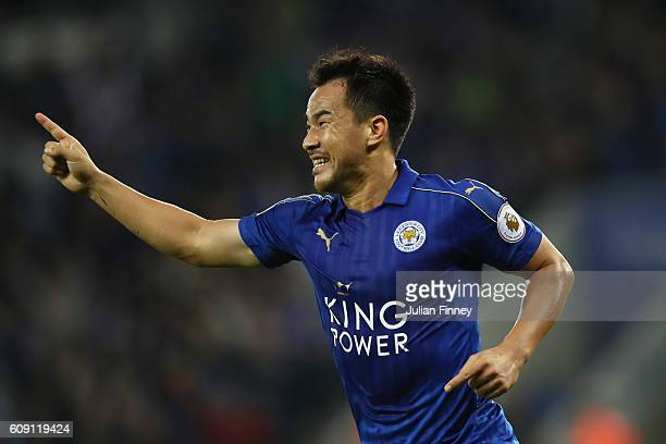 Shinji Okazaki of Leicester City celebrates scoring his sides first goal during the EFL Cup Third Round match between Leicester City and Chelsea at...