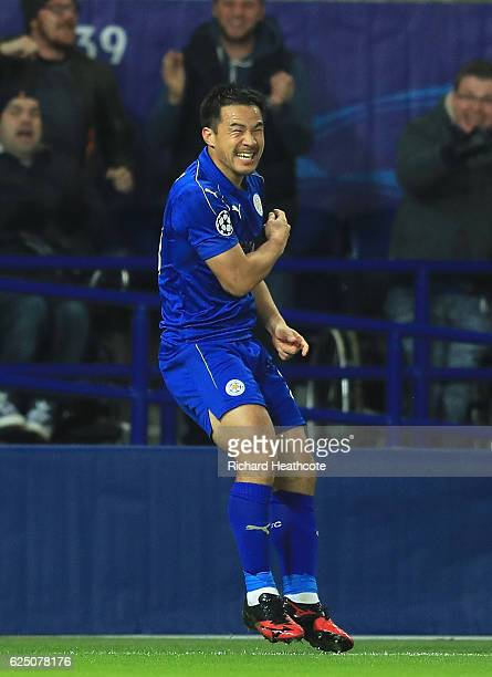 Shinji Okazaki of Leicester City celebrates scoring his sides first goal during the UEFA Champions League match between Leicester City FC and Club...