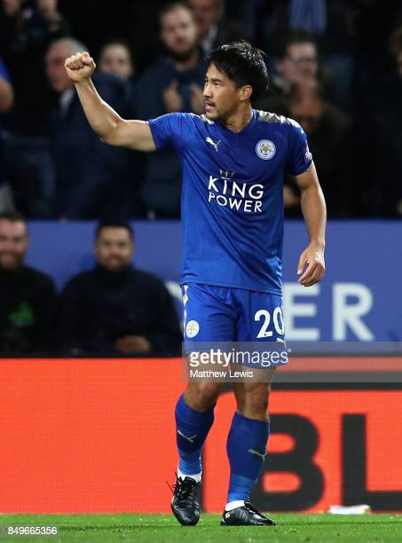 Shinji Okazaki of Leicester City celebrates scoring his sides first goal during the Carabao Cup Third Round match between Leicester City and...