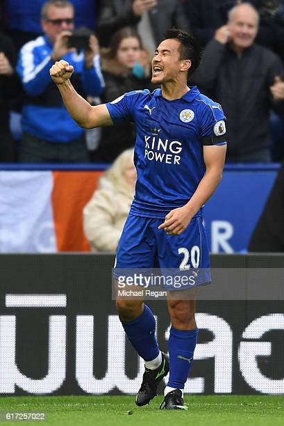Shinji Okazaki of Leicester City celebrates scoring his sides second goal during the Premier League match between Leicester City and Crystal Palace...