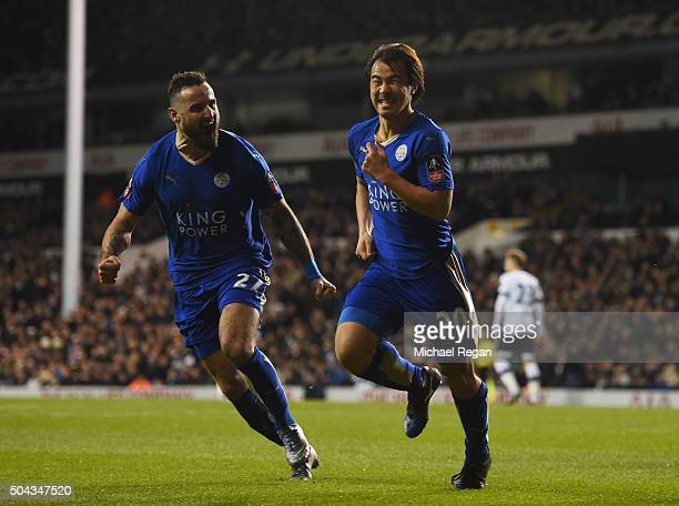 Shinji Okazaki of Leicester City celebrates with teammate Marcin Wasilewski after scoring his team's second goal during The Emirates FA Cup third...