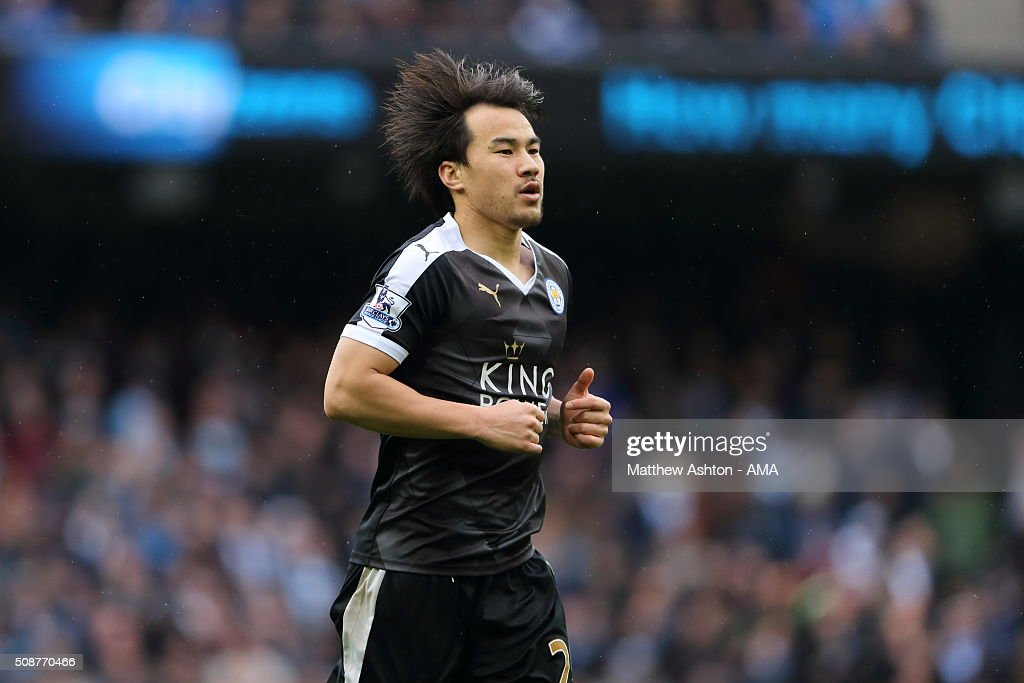 <a gi-track='captionPersonalityLinkClicked' href=/galleries/search?phrase=Shinji+Okazaki&family=editorial&specificpeople=4320771 ng-click='$event.stopPropagation()'>Shinji Okazaki</a> of Leicester City during the Barclays Premier League match between Manchester City and Leicester City at the Etihad Stadium on February 06, 2016 in Manchester, England.