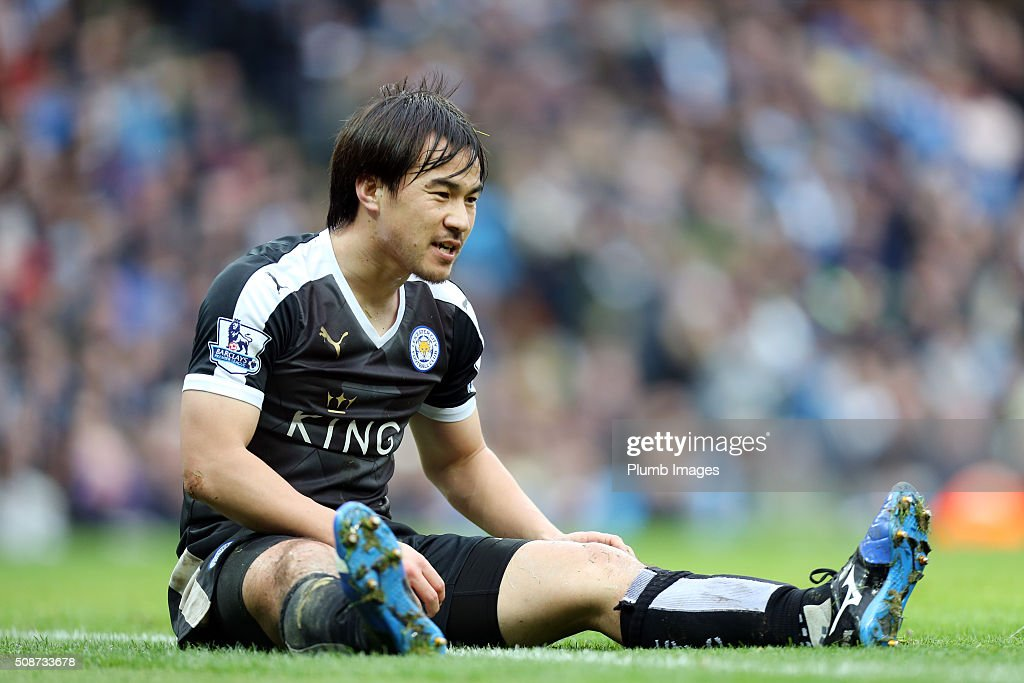 Shinji Okazaki of Leicester City during the Premier League match between Manchester City and Leicester City at Etihad Stadium on February 6, 2016 in Manchester, United Kingdom.