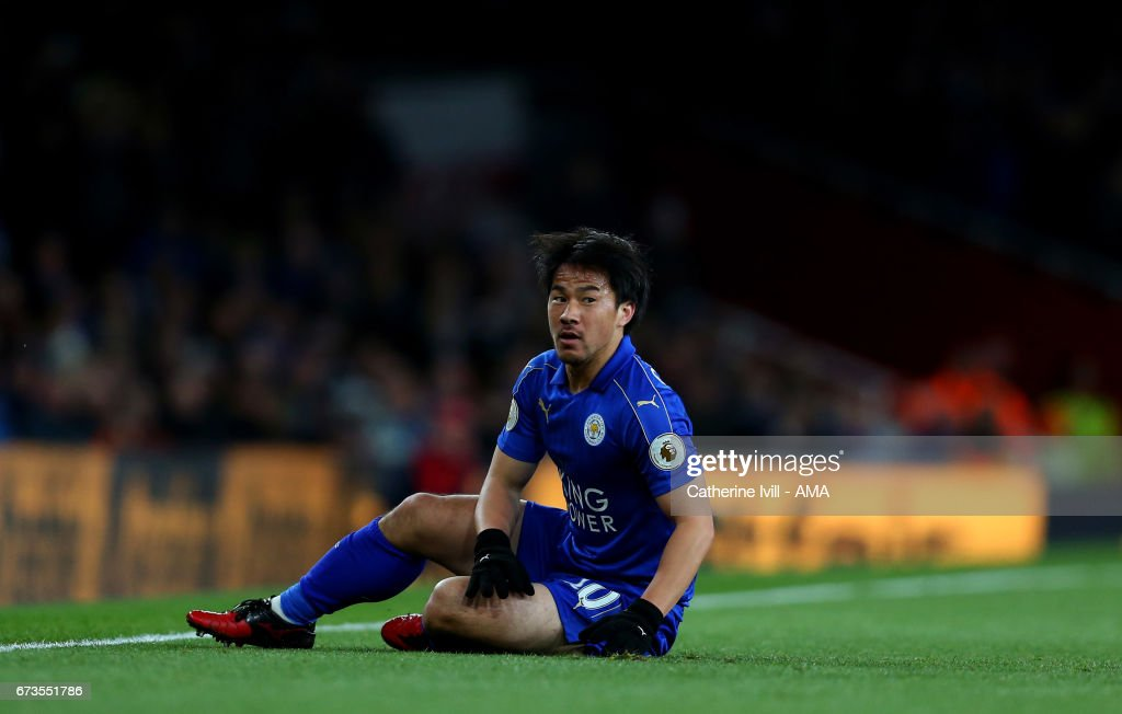 Shinji Okazaki of Leicester City during the Premier League match between Arsenal and Leicester City at Emirates Stadium on April 26, 2017 in London, England.