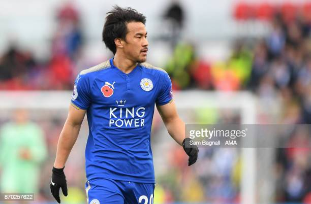 Shinji Okazaki of Leicester City during the Premier League match between Stoke City and Leicester City at Bet365 Stadium on November 4 2017 in Stoke...