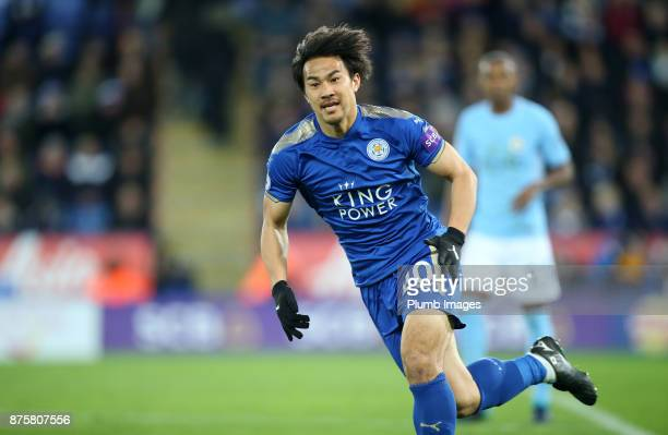 Shinji Okazaki of Leicester City during the Premier League match between Leicester City and Manchester City at The King Power Stadium on November 18...