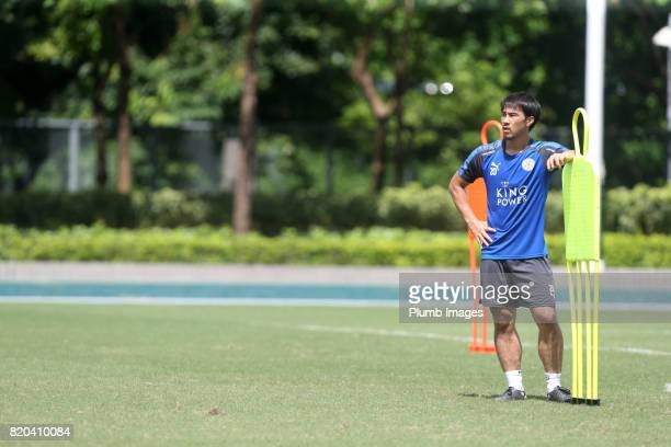 Shinji Okazaki of Leicester City during the training session in Hong Kong ahead of the Premier League Asia Trophy final against Liverpool on July 21...