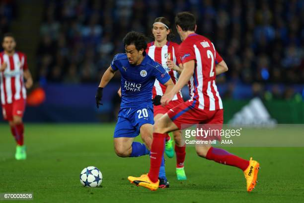 Shinji Okazaki of Leicester City during the UEFA Champions League Quarter Final second leg match between Leicester City and Club Atletico de Madrid...