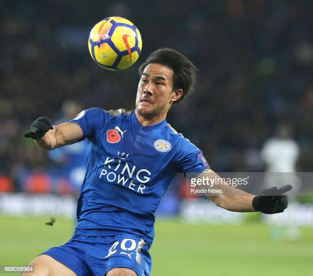 Shinji Okazaki of Leicester City eyes the ball during the second half of an English Premier League match against Everton at King Power Stadium in...