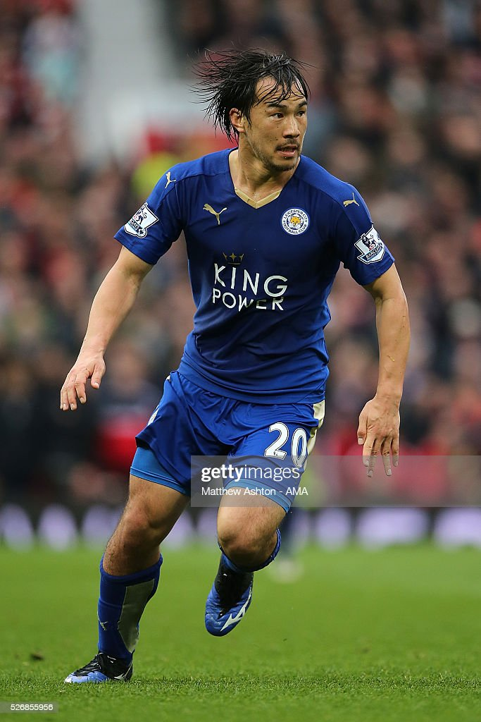 Shinji Okazaki of Leicester City in action during the Barclays Premier League match between Manchester United and Leicester City at Old Trafford on May 1, 2016 in Manchester, United Kingdom.