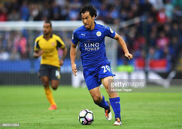 Shinji Okazaki of Leicester City in action during the Premier League match between Leicester City and Arsenal at The King Power Stadium on August 20...
