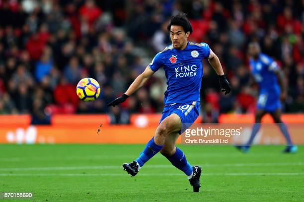 Shinji Okazaki of Leicester City in action during the Premier League match between Stoke City and Leicester City at Bet365 Stadium on November 4 2017...